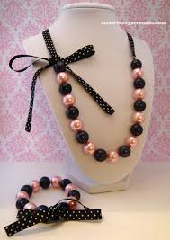 diy necklace set images Pink and black pearl lolita ribbon jewelry set by jpg