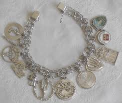 silver bracelet styles images Vintage sterling silver charm bracelet with 12 charms signed gb jpg