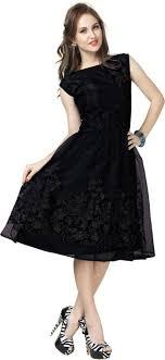 black dress elevate women women fit and flare black dress thundershoe