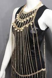 metal necklace dress images Gold metal full body chains multi imitation pearl beads harness jpg