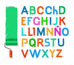 font paint roller spanish alphabet capital letter color