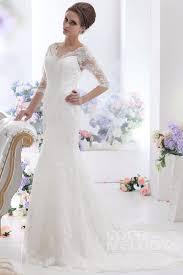 half lace wedding dress fancy sheath column v neck half sleeve court lace wedding