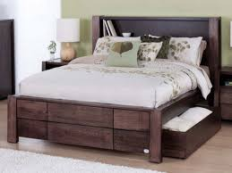 Full Size Bed With Storage Drawers Bedroom Wooden Bed With Storage Drawer And Headboard Plus Lamp
