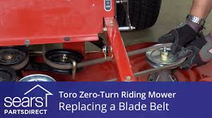 how to replace a toro zero turn riding mower blade belt youtube