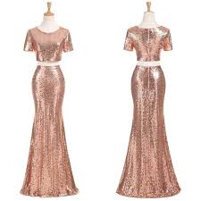 two pieces short sleeve cheap gold sequin long bridesmaid