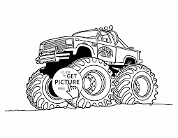 cool monster truck with big wheels coloring page for kids