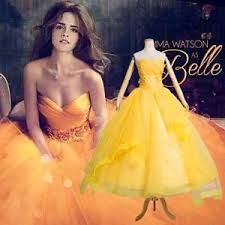 kids girls belle dress yellow gown new version cosplay costume