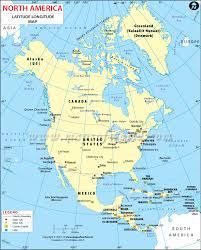 North And South America Map Blank by North America Latitude And Longitude Map