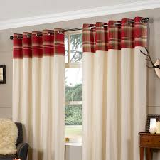 lesley check red curtains