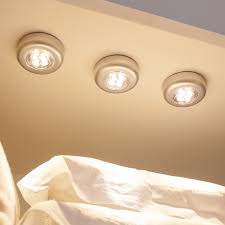 set of 3 warm white led battery operated push lights with 3m pads