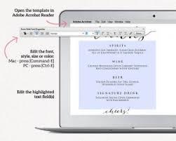wedding drink menu template wedding menu templates wedding templates and printables
