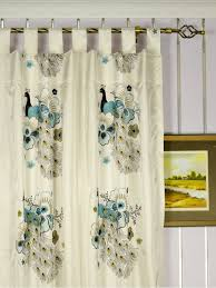 Light Silver Curtains Silver Beach Embroidered Peacocks Faux Silk Custom Made Curtains
