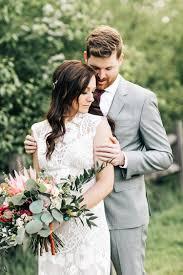 wedding photos boho pacific northwest forest wedding with king protea ruffled