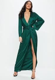 green dress green satin plunge kimono maxi dress missguided