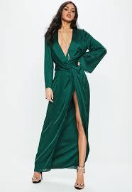 green dress green satin plunge kimono maxi dress missguided