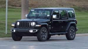 jeep open top spy spots released of new re designed 2018 jeep wrangler on street