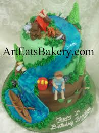 boy u0027s 2 tier camping birthday cake design with edible canoe
