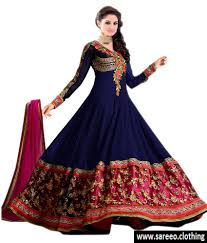 blue color embroidered party wear anarkali suit