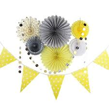 paper fan circle decorations amazon com grey yellow cream party decor kit tissue paper fan