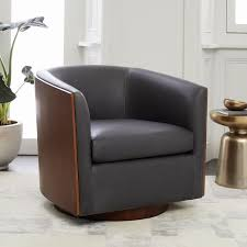 Living Room Swivel Chairs by Luther Leather Swivel Chair West Elm
