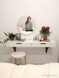 Diy Vanity Table Interior Makeup Mirror With Light Bulbs Ikea Diy Vanity Table