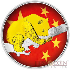 Chineses Flag China Panda Chinese Flag 10 Yuan 2016 Silver Coin Gold Plated 30