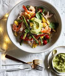 gourmet turkey poached turkey and prawn salad with avocado dressing recipe