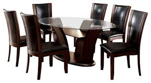 7 pc dining room set manhattan oval glass 7 dining table set cherry
