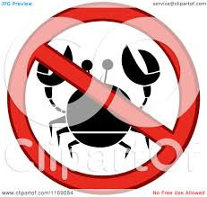 cartoon of a red crab and restricted circle royalty free vector