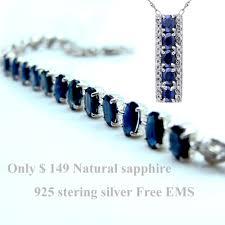 blue sapphire sterling silver bracelet images Natural blue sapphire 925 sterling silver jewelry set gemstone jpg