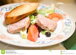french country style pork terrine pate salad royalty free stock