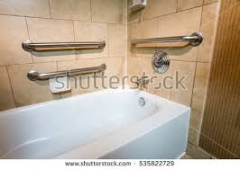 Bathroom Handicap Rails Handicapped Access Bathtub Hotel Room Grab Stock Photo 535822729
