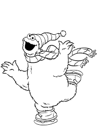 cookie monster ice skating coloring pages coloring sky