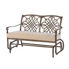 Veranda Metal Patio Loveseat Glider by Hampton Bay Cavasso Metal Outdoor Glider With Oatmeal Cushion 171