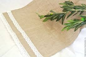 buy tablecloth with stripe and linen napkins with cotton lace in