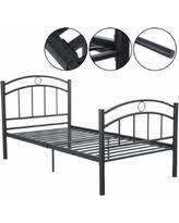 Black Metal Bed Frame Tis The Season For Savings On Costway Black Twin Size Metal Bed