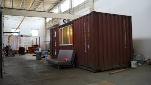 step inside an under construction shipping container tiny home