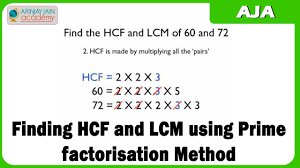 mathematics finding hcf and lcm using prime factorisation method