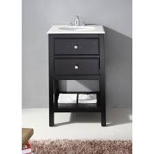 black 20 inch bath vanity and white quartz marble top