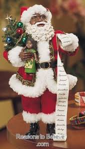 18 inch standing gold american black santa claus