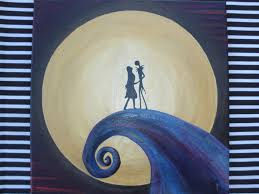 nightmare before christmas painting jack and sally on hill