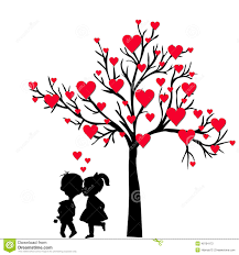 greeting valentine u0027s day card with tree of hearts and kids kissi