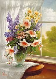 canvas printing beautiful colorful flowers in the vase closed the window fine wall artwork print oil canvas printing for home in painting calligraphy