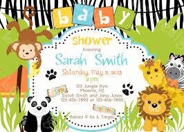 Invitation Card For Baby Jungle Theme Baby Shower Invitations Kawaiitheo Com