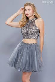 two piece navy blue homecoming dress