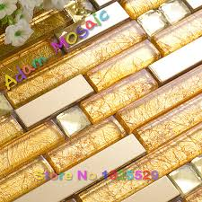 Online Get Cheap Gold Kitchen by Aliexpress Com Buy Gold Foil Tile Kitchen Golden Stainless Steel