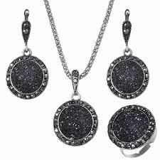 round stone necklace images Hot sale wholesale vintage black gem jewelry set fashion women jpg
