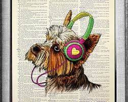 boxer dog yorkshire boxer dog art print dictionary paper dog portrait dog