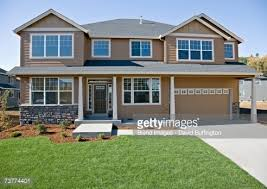 Image Of House | front of house with lawn and driveway stock photo getty images