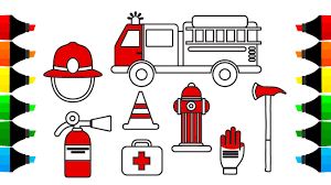how to draw fire truck and firefighter icons coloring pages